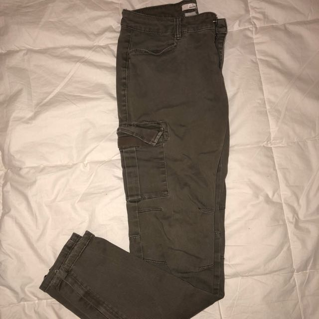 Green Cargo Fitted Pants