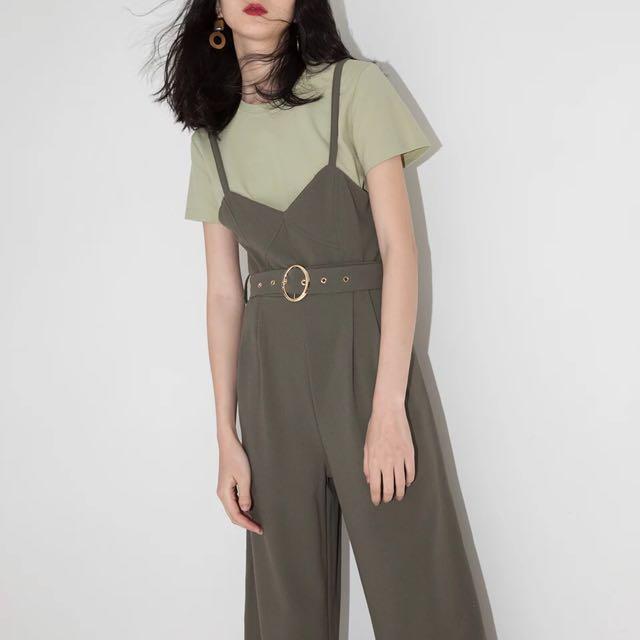 d490352180f Khaki green jumpsuit(adjustable strap)