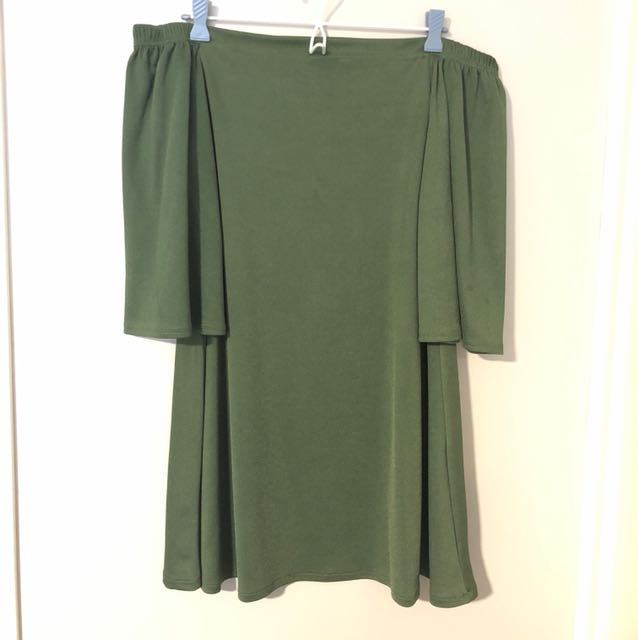 Khaki Green Off The Shoulder Dress