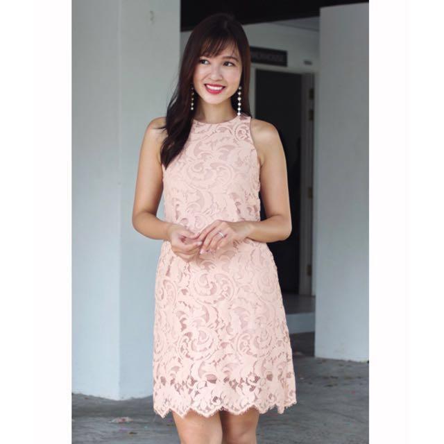 Lace dusty pink dress