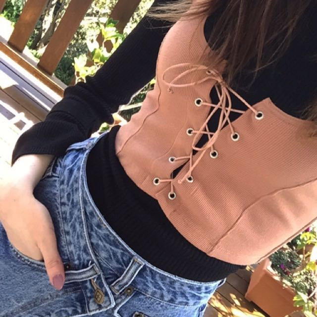 Lace up corset top