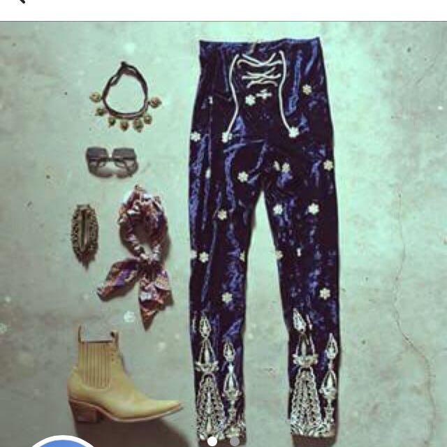 LENNI the label velvet lace up embroidered festival pants