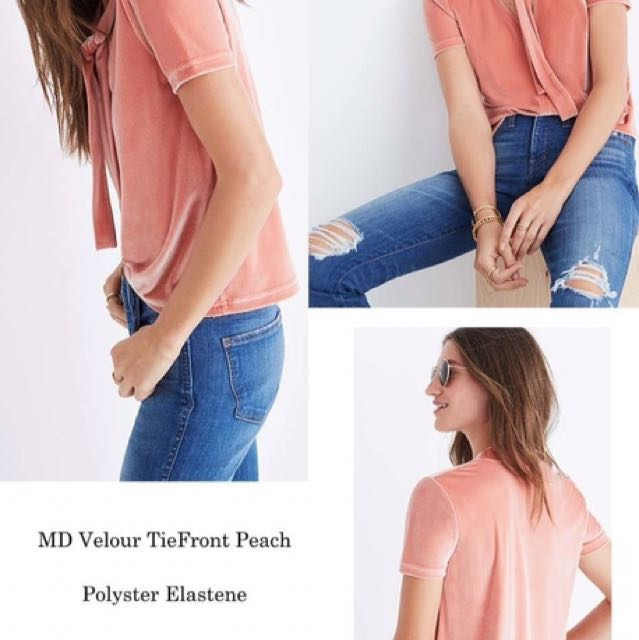 Madewell branded Blouse MD Velour tiefron Peach