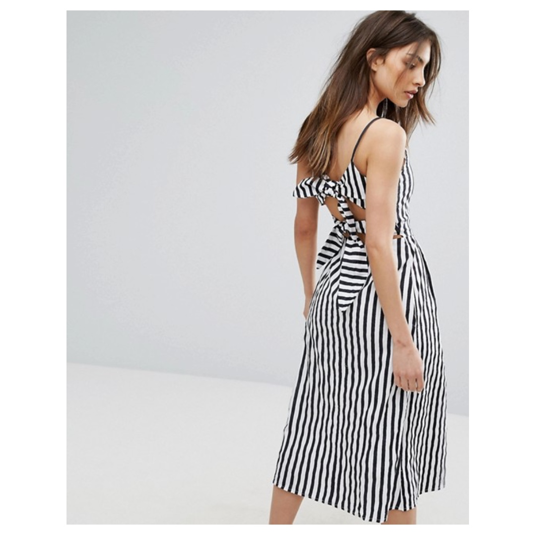 Mango Stripe And Button Detail Midi Dress