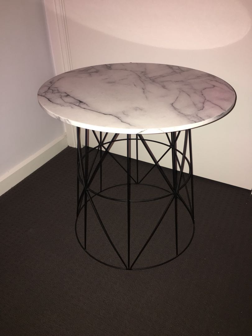 Marble Print Bed Side Table