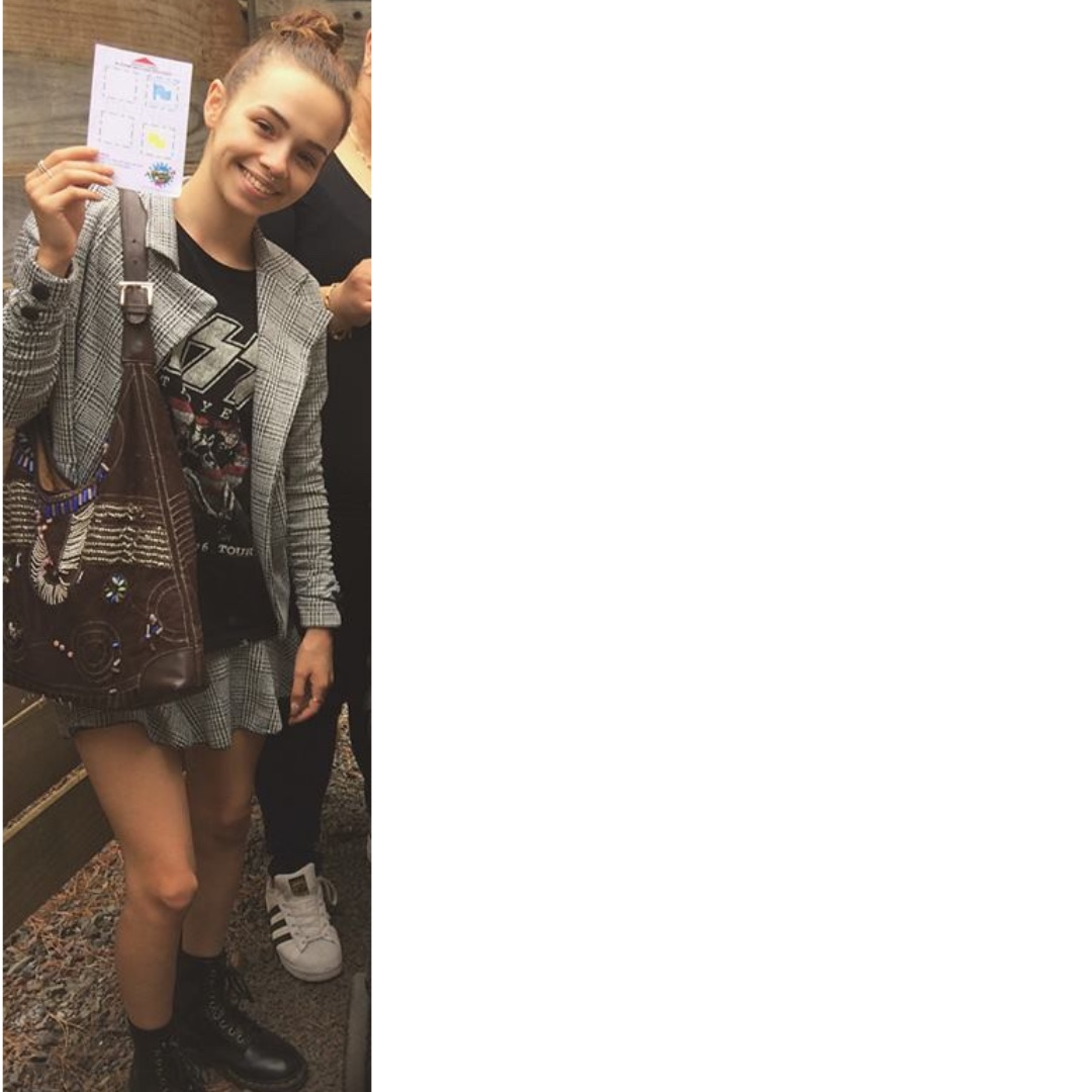 matching checkered jacket and skirt