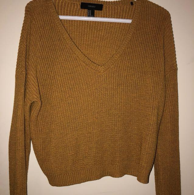 Mustard V Neck Knit Long Sleeve