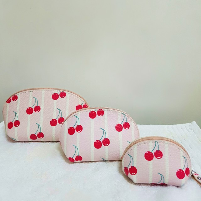 NB Cherry Print Cosmetic Pouch Trio