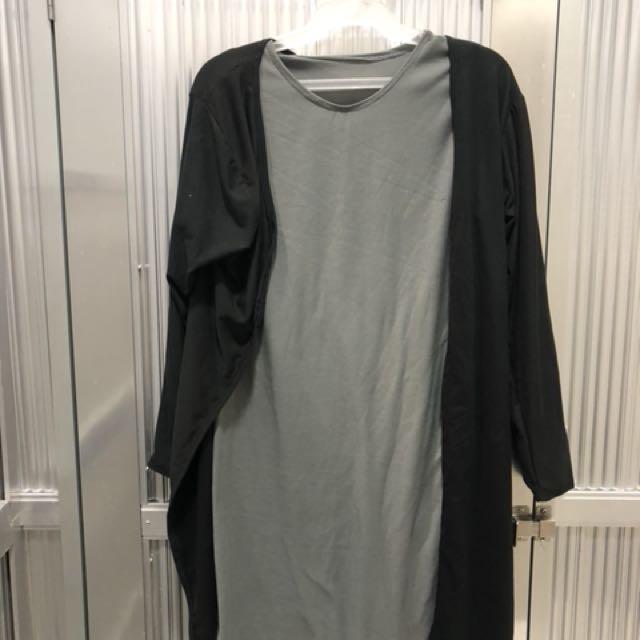 [No brand] Gray dress with black cardigan - Set
