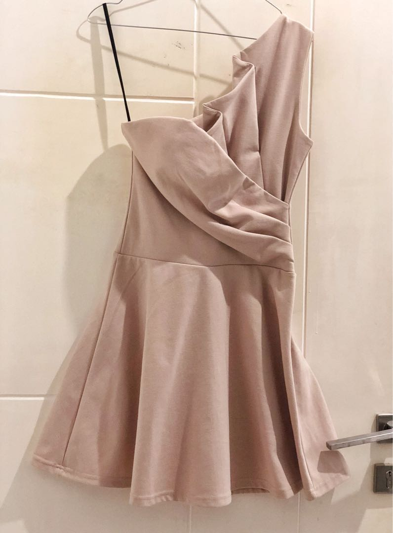 Nude One Soulder Dress