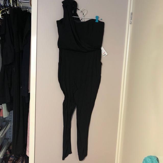 One Shoulder Black Jumpsuit
