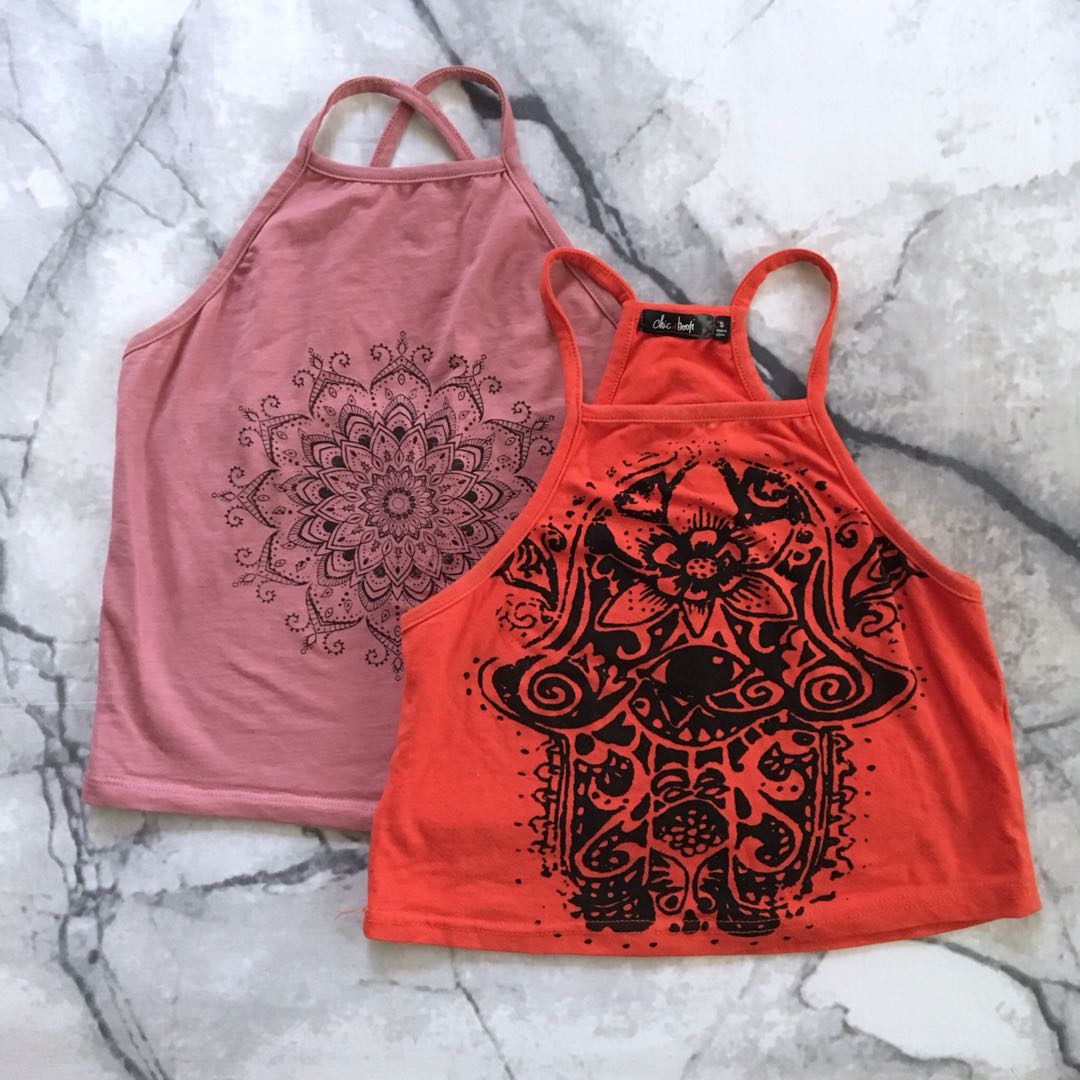 Pink and red crop tops size XS/S