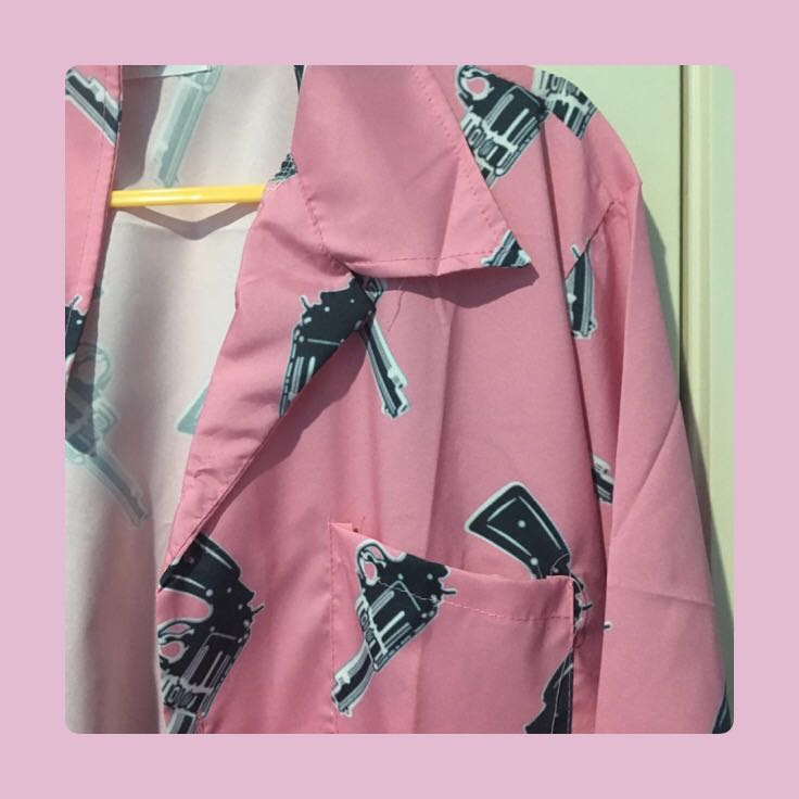 pink button up tee (with guns!)