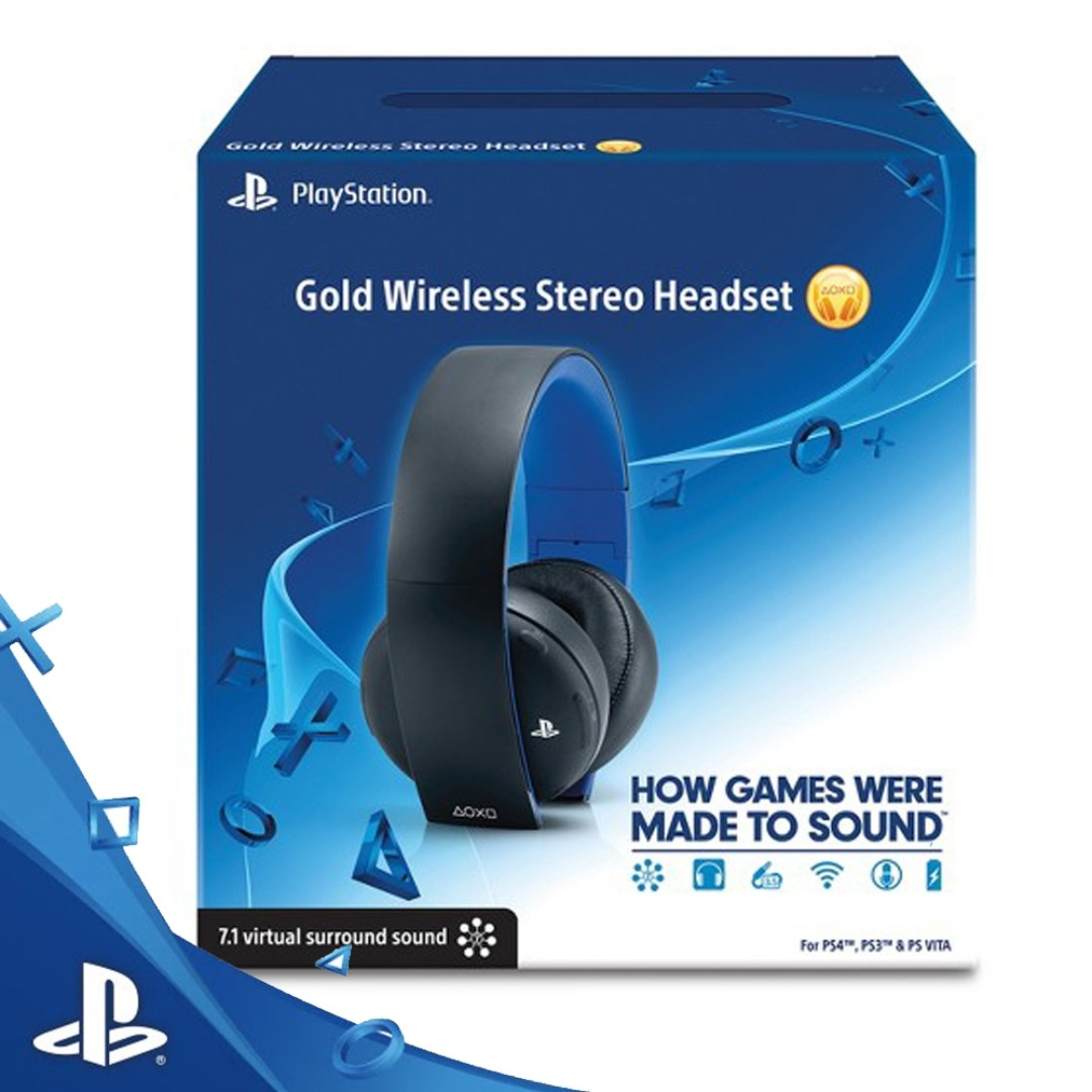 PS3/PS4/PSVITA SONY GOLD WIRELESS STEREO HEADSET, Video Gaming ...