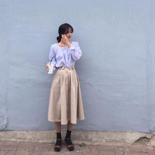 (私物)文藝復興復古排扣中長裙S#手滑買太多