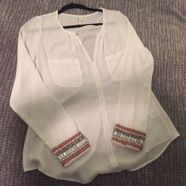 Size M White Blouse With Beaded Sleeve Cuffs