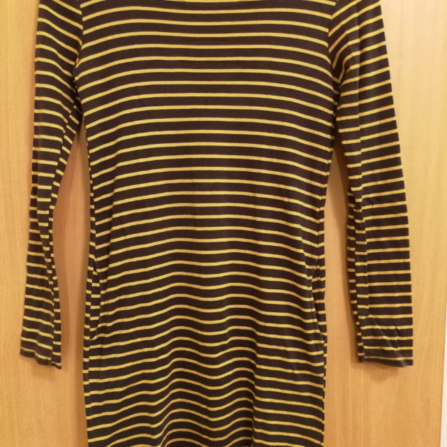 Striped Yellow and Grey Dress with Pockets