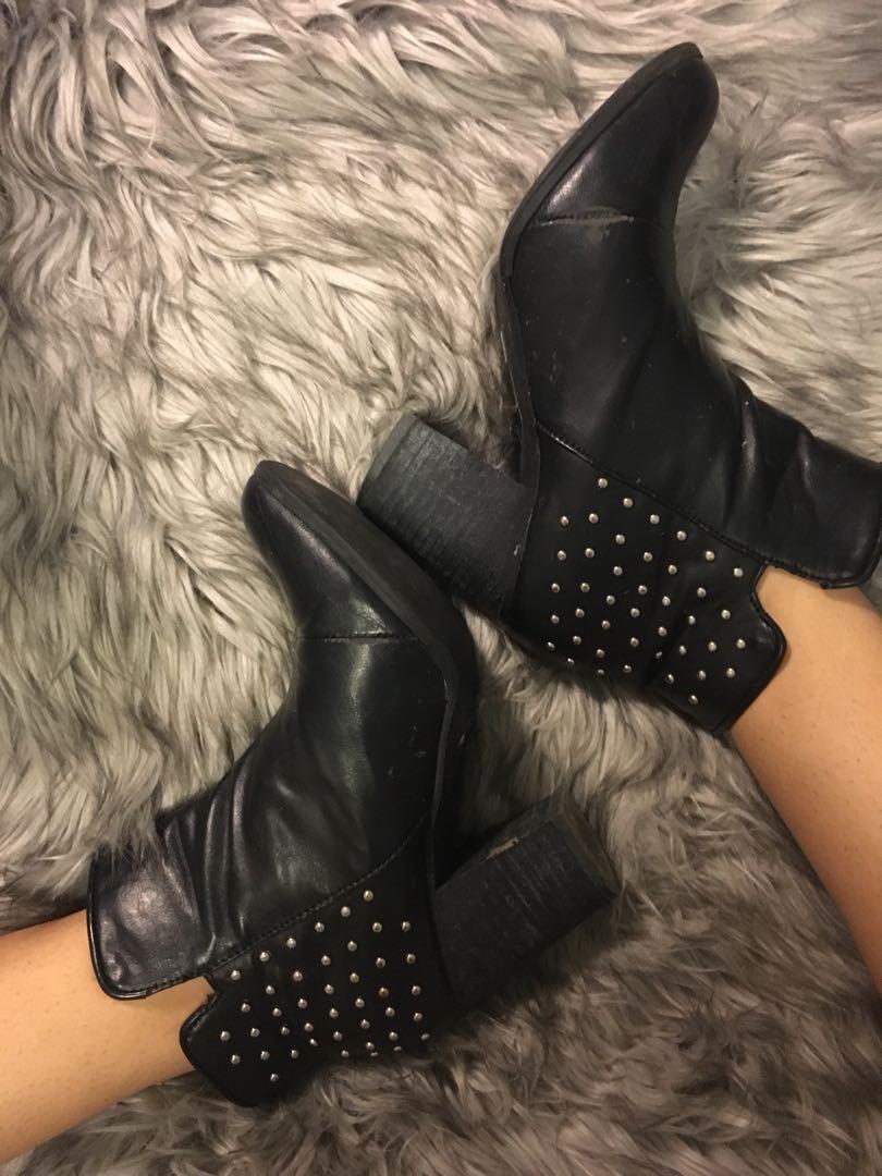 Studded leather heeled booties