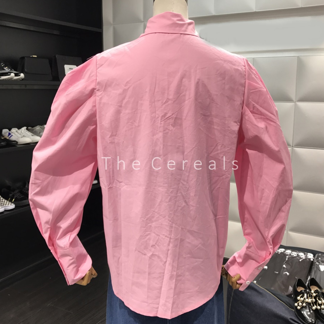 Tc1860 Korea Bubble Sleeve Loose Shirt Whitepinkyellow Fesyen Blouse Off Shoulder Wanita Charming Pink Fuchsia Xl Pakaian Tops Di Carousell