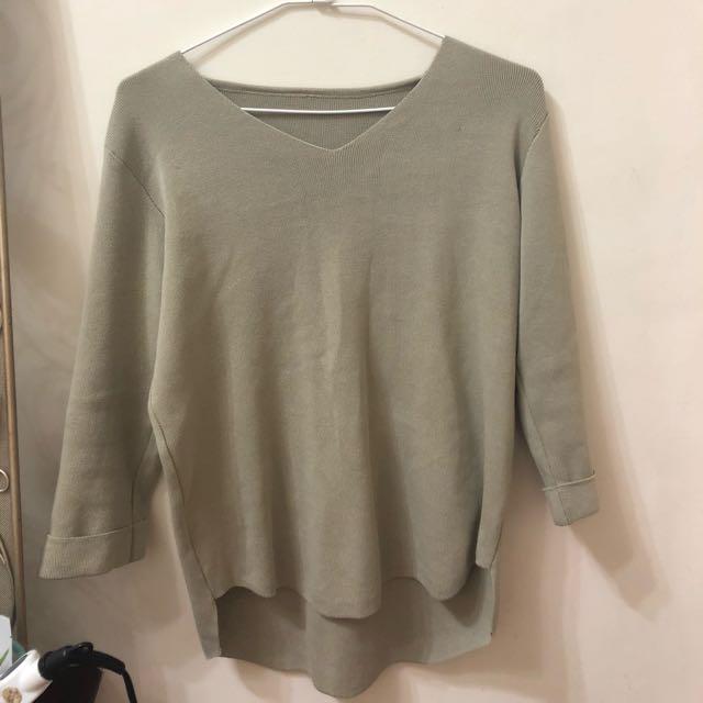[全新]灰綠色針織V領上衣❤️