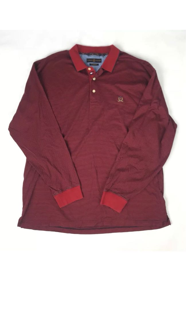 Vintage 90's TOMMY HILFIGER Golf Stripped Long Sleeve Polo