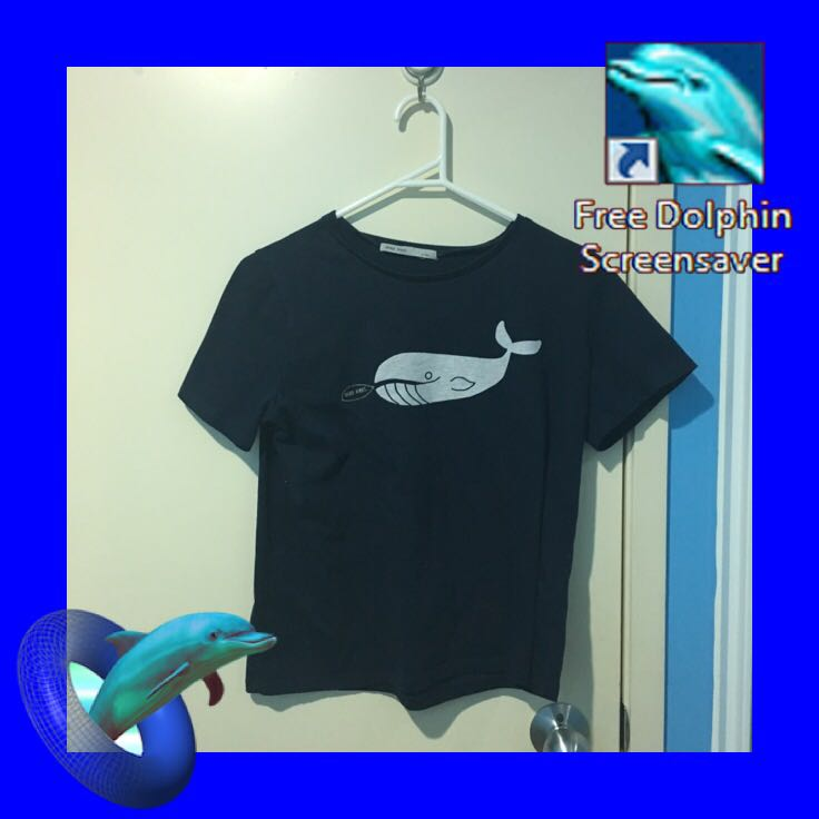 whale graphic crop top