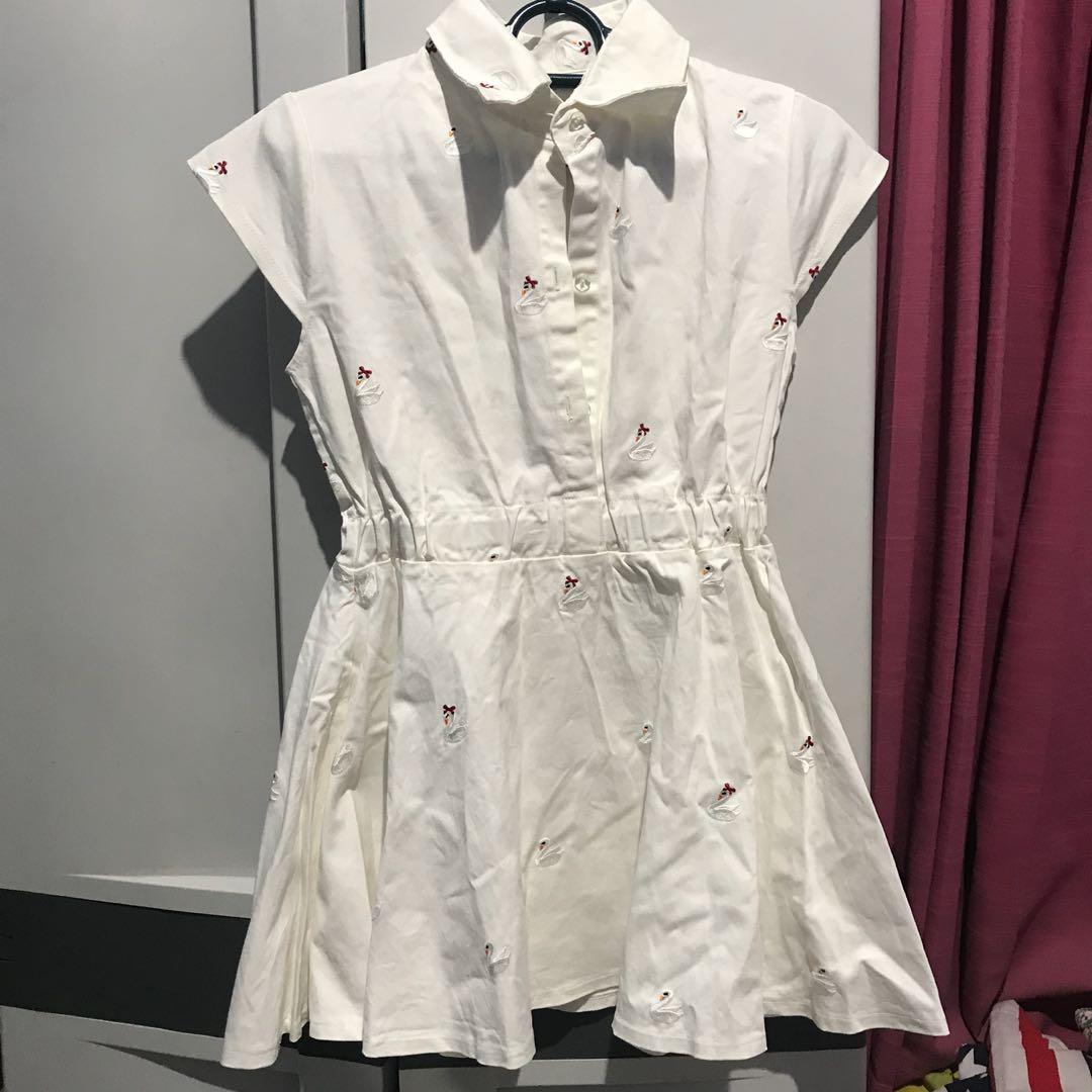 White bordir swan dress