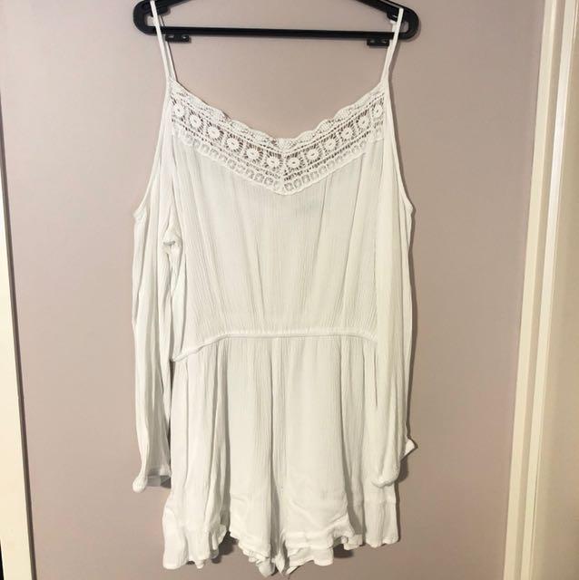 White Long Sleeve Playsuit