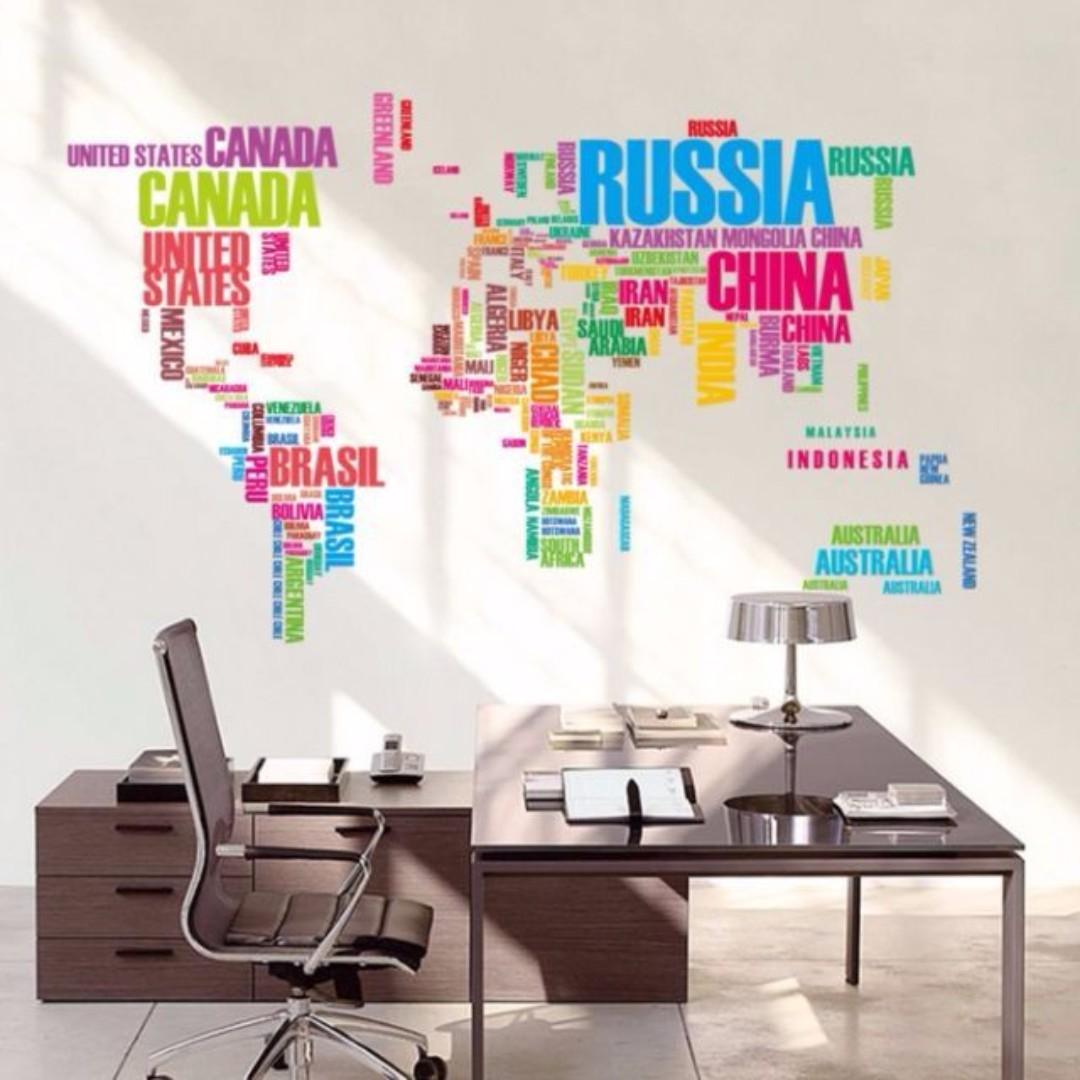 World Map Wall Decor Wall Decal Wall Sticker Home Decor