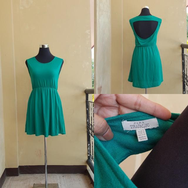 Zara open back green dress