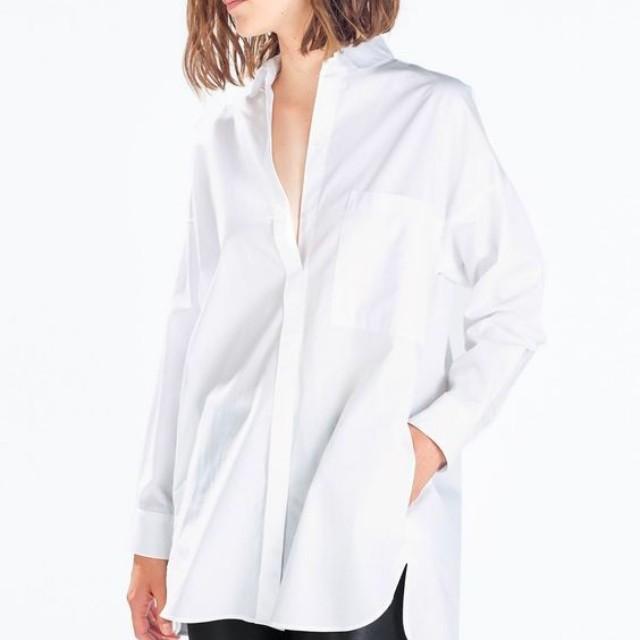 Zara Oversized White Poplin Shirt