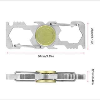 Title - Gold Carabiner Keychain, Pocket Tool Fidget Spinner