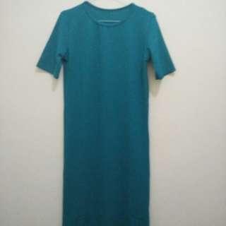 Dress Body Con (Spandek Tebal) Hijau