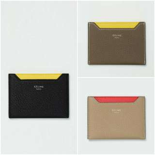 Celine Card Holder In Drummed Calfskin