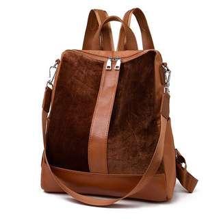 Cute travel school box bag backpack; shoulder bag pack back; brown black monochrome; zipped zip; girls woman female women ladies; big large