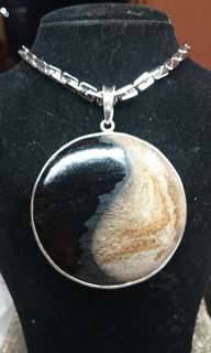 Ying Yang Wood fossill pendant and Necklaces