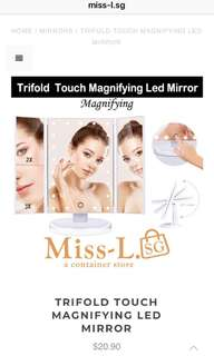 👣 TRIFOLD TOUCH MAGNIFYING LED MIRROR