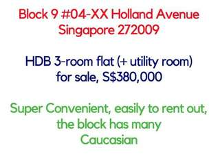 HDB Holland ave 3 room + utility room