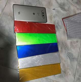 5 pcs colors high Reflective warning stickers. Ideal for helmet box etc