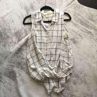 Anthropologie Linen Grid Shirt