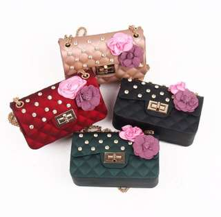 Tas Selempang Chanel Jelly Embroidered Flower Tweed Classic Flap Bag Code 2687