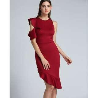 Ladies ruffles black/red.dress