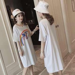 Summer rainbow pony Polaroid white women short-sleeved large size loose long t-shirt dress