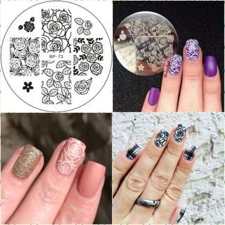 Rose Flower Nail Stamping Plates Manicure Stencil Set Cat Hot Sale Nail Art Stamping Template Image Plate BW2783