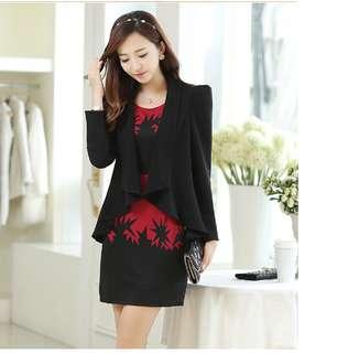 🚚 2018春裝女裝兩件套新款 韓版印花連衣裙套裝 小香風外套+無袖洋裝