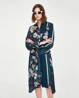 European and American flowers floral spell color belt lapel shirt dress