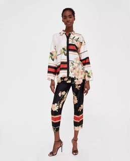 women's 2018 spring and summer new family style chic hit stitching floral print lapel long-sleeved flower shirt