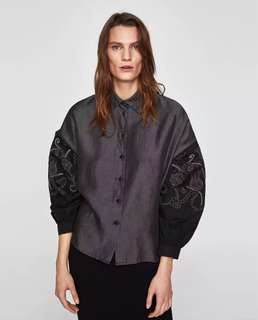 European and American style chic retro lantern sleeves flower embroidery long-sleeved shirt