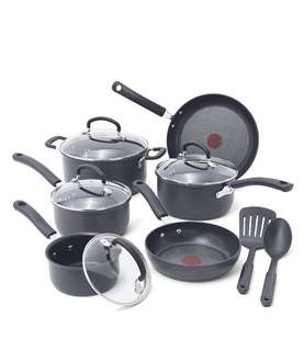 T-fal Ultimate Hard Anodized Scratch Resistant Titanium Nonstick Thermo-Spot Heat Indicator Anti-Warp Base Dishwasher Safe Oven Safe PFOA Free Cookware Set, 12-Piece, Gray