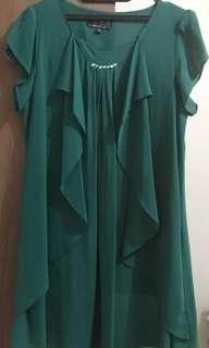 Dress Wanita Warna Hijau Lumut